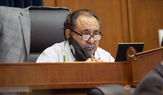 Committee Chairman Rep. Raul Grijalva, D-Ariz., speaks Monday, June 29, 2020, on Capitol Hill in Washington, during the House Natural Resources Committee hearing on the police response in Lafayette Square. (Bonnie Cash/Pool via AP)