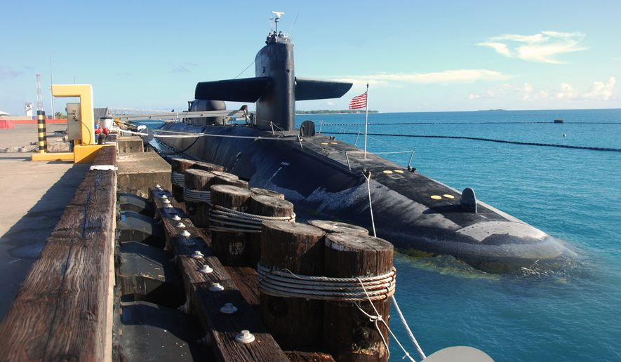 The guided-missile submarine USS Florida conducts a fast cruise in Diego Garcia following a remote crew exchange and the first voyage repair period of her second deployment.