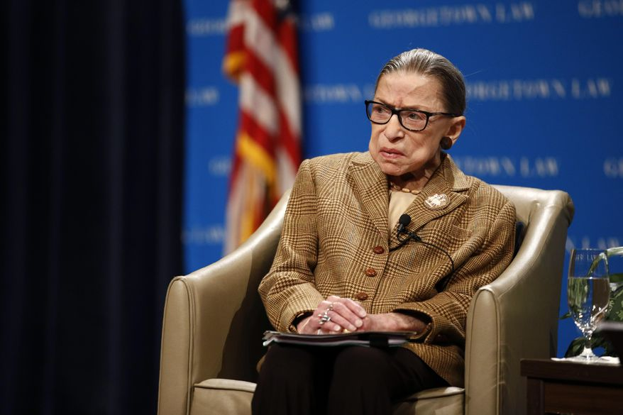 In this Feb. 10, 2020, file photo U.S. Supreme Court Associate Justice Ruth Bader Ginsburg speaks during a discussion on the 100th anniversary of the ratification of the 19th Amendment at Georgetown University Law Center in Washington. Ginsburg is perhaps the most forthcoming member of the Supreme Court when it comes to telling the public about her many health issues. But she waited more than four months to reveal that her cancer had returned and that she was undergoing chemotherapy. (AP Photo/Patrick Semansky, File)