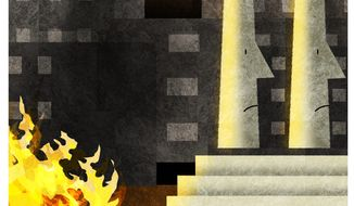 Illustration on municipal responsibility in times of urban unrest by Alexander Hunter/The Washington Times