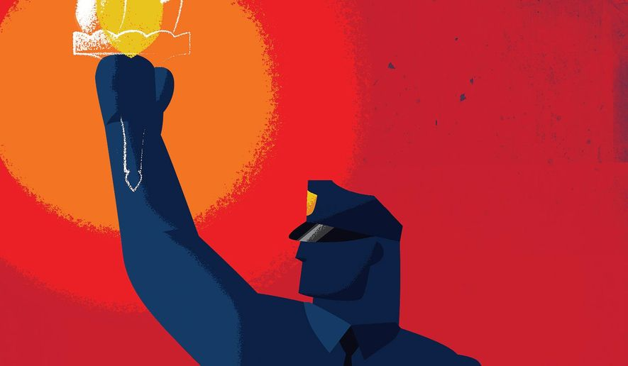 Illustration on standing up for the rights of law enforcement officers by Linas Garsys/The Washington Times