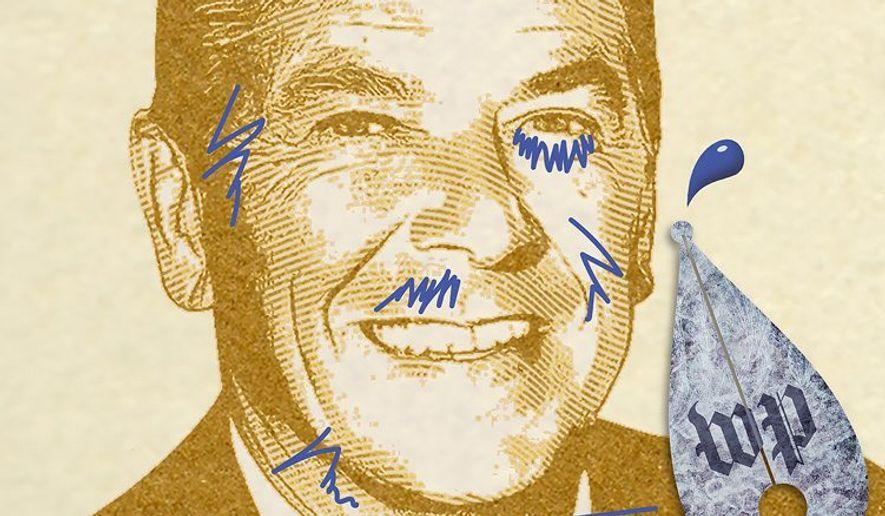 Reagan Hit Piece Illustration by Greg Groesch/The Washington Times