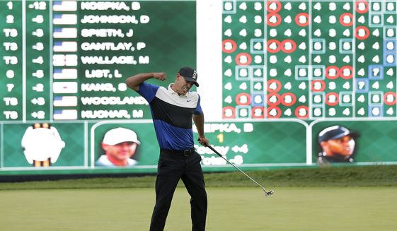 In this May 19, 2019, file photo, Brooks Koepka reacts after winning the PGA Championship golf tournament at Bethpage Black in Farmingdale, N.Y. Koepka goes for a third straight PGA Championship title this week in San Francisco. (AP Photo/Seth Wenig, File)  **FILE**
