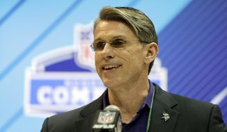 FILE - In this Feb. 28, 2018, file photo, Minnesota Vikings general manager Rick Spielman speaks during a press conference at the NFL football scouting combine in Indianapolis. The Vikings have signed Spielman to a multi-year contract extension(AP Photo/Darron Cummings, File)