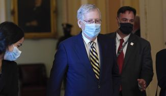 Senate Majority Leader Mitch McConnell of Ky., walks back to his office on Capitol Hill in Washington, Monday, Aug. 3, 2020. (AP Photo/Susan Walsh) ** FILE **