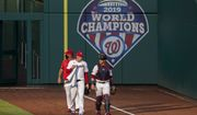 Washington Nationals Patrick Corbin, left, and Yan Gomes, right, walk towards their dugout before the start of their baseball game against the New York Mets in Washington, Tuesday, Aug. 4, 2020. (AP Photo/Manuel Balce Ceneta) ** FILE **