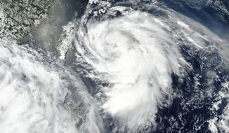 This Monday, Aug. 3, 2020, satellite image released by NASA shows Typhoon Hagupit over Taiwan, center left. The typhoon brought high winds and heavy rains to China's eastern coastal areas including the financial hub of Shanghai early Tuesday, Aug. 4, 2020. China had ordered evacuations of vulnerable coastal areas in Zhejiang and Fujian provinces to the south, recalled fishing boats and suspended ferry service and some trains. (NASA Worldview, Earth Observing System Data and Information System (EOSDIS) via AP)