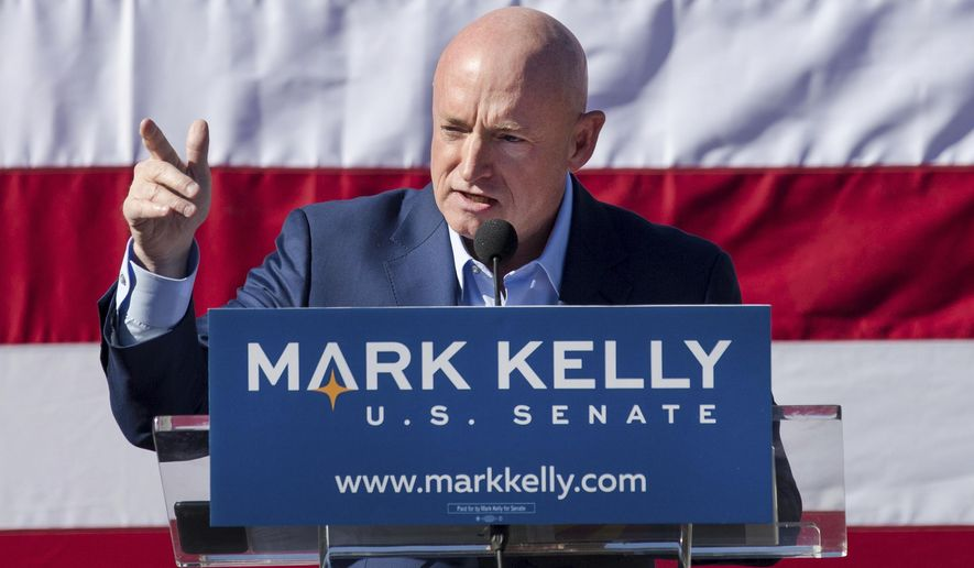 In this Feb. 23, 2019, file photo, Mark Kelly speaks during his senate campaign kickoff event in Tucson, Ariz. Arizona will be in the national spotlight in November as a presidential battleground and the home of one of the most closely watched Senate contests in the country. But Tuesday's primary on Aug. 4, 2020, features few big-ticket contests. Kelly, a retired astronaut and the husband of former U.S. Rep. Gabrielle Giffords, faces only a write-in opponent for the Democratic nomination. (Mike Christy/Arizona Daily Star via AP, File)