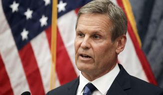 Tennessee Gov. Bill Lee answers questions during a news conference Wednesday, July 1, 2020, in Nashville, Tenn. (AP Photo/Mark Humphrey)