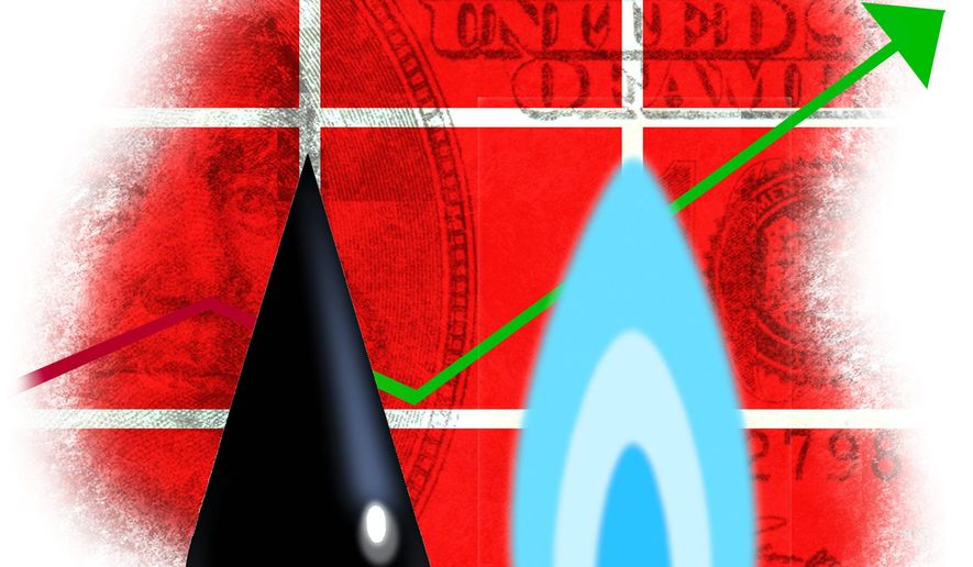 Illustration on the economic power of the energy industry by Alexander Hunter/The WashingtonTimes