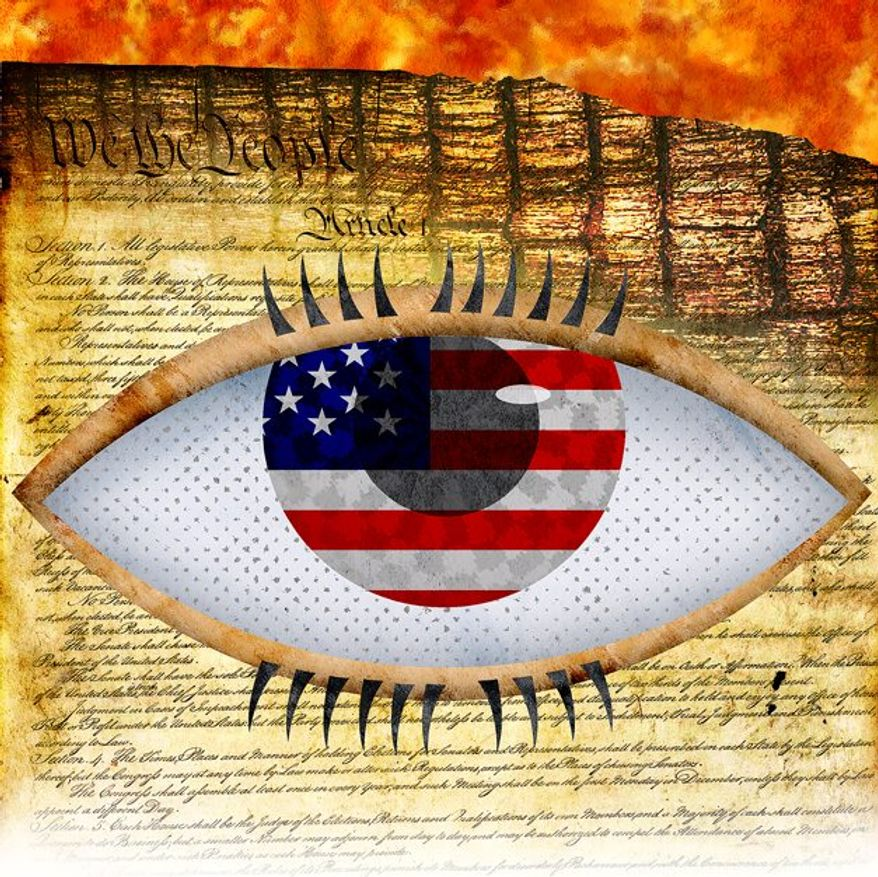 Illegal Government Spying Illustration by Greg Groesch/The Washington Times