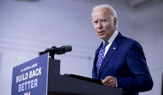 """In this July 28, 2020, file photo, Democratic presidential candidate former Vice President Joe Biden speaks at a campaign event at the William """"Hicks"""" Anderson Community Center in Wilmington, Del. (AP Photo/Andrew Harnik, File)"""