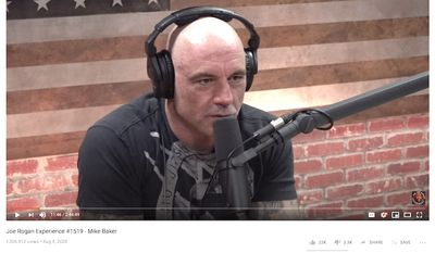 "Joe Rogan on his podcast on Aug. 4, 2020. (Image: YouTube, ""The Joe Rogan Experience,"" video screenshot)"