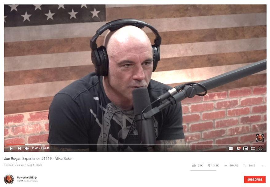 "Joe Rogan on his podcast on Aug. 4, 2020. (Image: YouTube, ""The Joe Rogan Experience,"" video screenshot)"