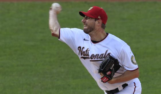 Washington Nationals starting pitcher Max Scherzer (31) throws during the first inning of a baseball game against the New York Mets in Washington, Wednesday, Aug. 5, 2020. (AP Photo/Manuel Balce Ceneta)  **FILE**