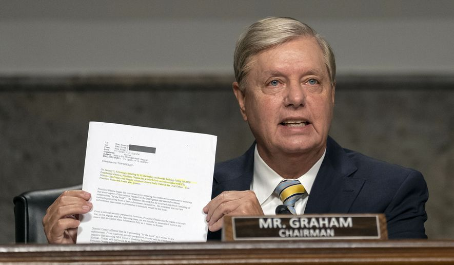 Senate Judiciary Committee Chairman Lindsey Graham held a hearing Aug. 5 to examine the Crossfire Hurricane investigation. (Associated Presss/File)