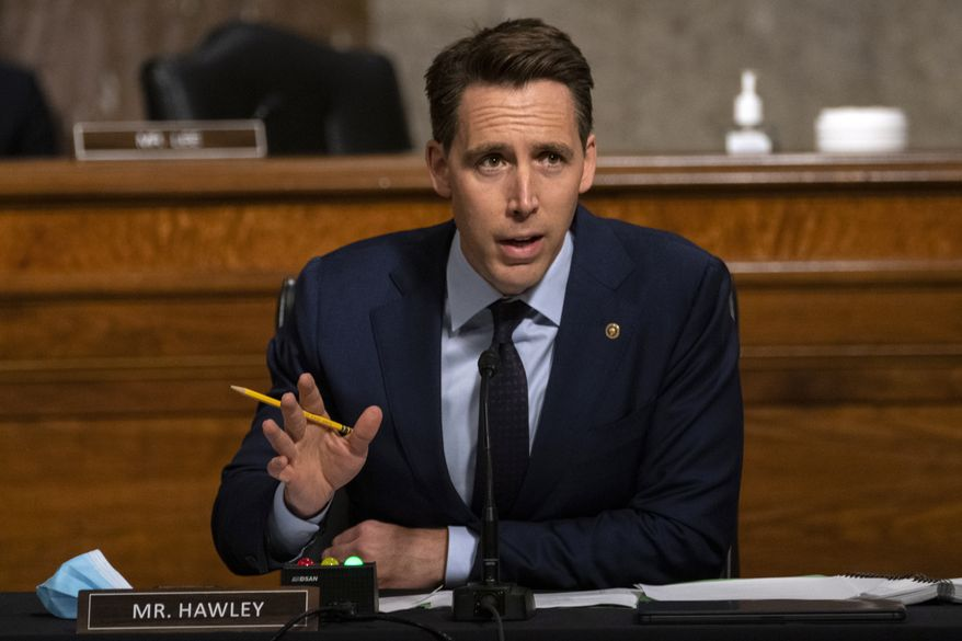 Sen. Josh Hawley, R-Mo., speaks during a Senate Judiciary Committee oversight hearing on Capitol Hill in Washington, Wednesday, Aug. 5, 2020, to examine the Crossfire Hurricane investigation. (AP Photo/Carolyn Kaster, Pool)