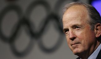 FILE - In this in this April 15, 2008 file photo, U.S. Olympic Committee Chairman Peter Ueberroth takes questions during the 2008 U.S. Olympic Team Media Summit in Chicago. Ueberroth vision laid the foundation for what the Olympic Games have become today.  (AP Photo/M. Spencer Green, File)
