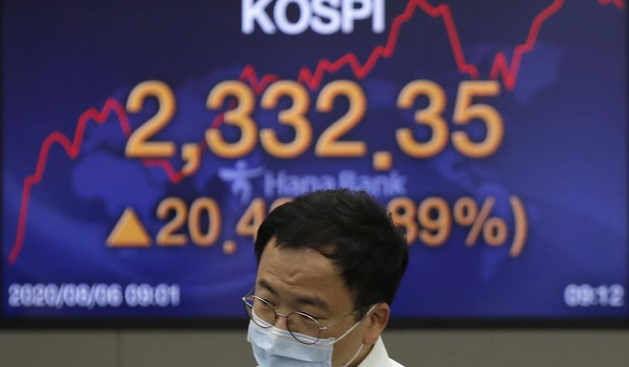 A currency trader wearing a face mask walks near the screen showing the Korea Composite Stock Price Index (KOSPI) at the foreign exchange dealing room in Seoul, South Korea, Thursday, Aug. 6, 2020. Stocks were mixed in Asia on Thursday despite strong gains overnight on Wall Street, where the rally just kept on rolling. (AP Photo/Lee Jin-man)