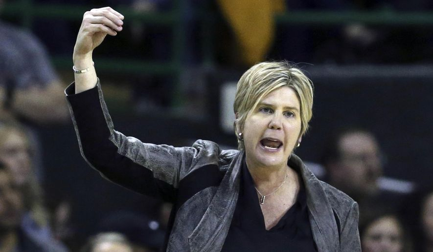 FILE - In this Jan. 25, 2020, file photo, Texas Tech head coach Marlene Stollings reacts to a play in the second half of an NCAA college basketball game against Baylor in Waco Texas. Texas Tech women's basketball players have accused Stollings and her staff of fostering a culture of abuse that led to an exodus from the program, according to a report published Wednesday, Aug. 5, 2020, in USA Today. (AP Photo/Rod Aydelotte, File)