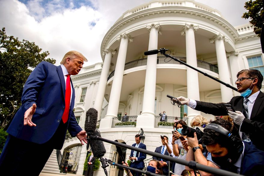 President Trump's campaign released a 25-question survey to his followers on Thursday about mainstream media and accountability. (Associated Press)
