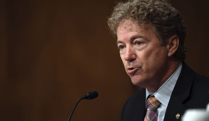 Sen. Rand Paul, R-Ky., speaks during a Senate Homeland Security and Governmental Affairs Committee hearing to examine Department of Homeland Security personnel deployments to recent protests on Thursday, Aug. 6, 2020, in Washington. (Toni Sandys/The Washington Post via AP, Pool)