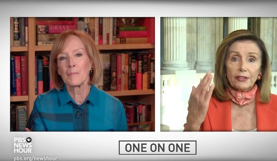 """House Speaker Nancy Pelosi chastises PBS host Judy Woodruff during a """"One on One"""" interview, Aug. 4, 2020. The California Democrat said the journalist was acting like a GOP """"advocate"""" when asked about coronavirus relief legislation. (Image: YouTube, PBS, """"One on One"""" video screenshot)"""