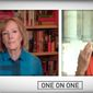 "House Speaker Nancy Pelosi chastises PBS host Judy Woodruff during a ""One on One"" interview, Aug. 4, 2020. The California Democrat said the journalist was acting like a GOP ""advocate"" when asked about coronavirus relief legislation. (Image: YouTube, PBS, ""One on One"" video screenshot)"
