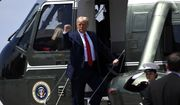 President Donald Trump gestures on the steps of Marine One at Burke Lakefront Airport in Cleveland, Ohio, Thursday, Aug. 6, 2020. (AP Photo/Susan Walsh)