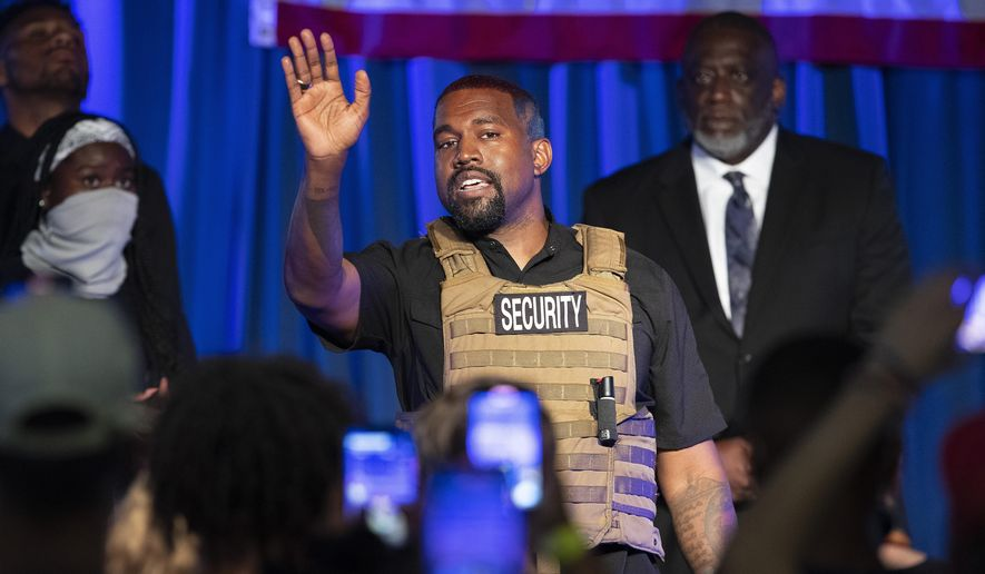In this Sunday, July 19, 2020, file photo, Kanye West makes his first presidential campaign appearance, in North Charleston, S.C. West filed signatures on Wednesday, Aug. 5, 2020, in Ohio, to run for president as an independent candidate in November. (Lauren Petracca Ipetracca/The Post And Courier via AP, File)