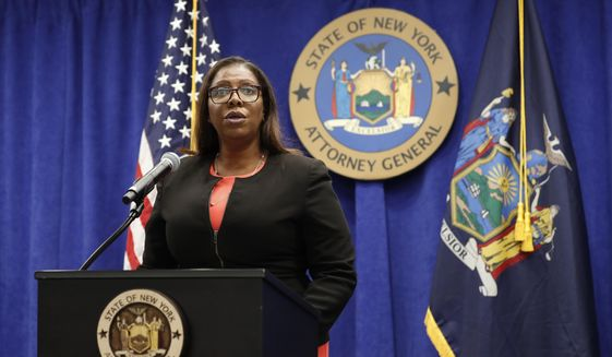 New York State Attorney General Letitia James announces that the state is suing the National Rifle Association during a press conference, Thursday, Aug. 6, 2020, in New York. James said that the state is seeking to put the powerful gun advocacy organization out of business over allegations that high-ranking executives diverted millions of dollars for lavish personal trips, no-show contracts for associates and other questionable expenditures. (AP Photo/Kathy Willens) **FILE**