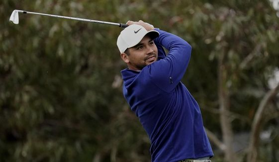 Jason Day of Australia, watches his tee shot on the 10th hole during the first round of the PGA Championship golf tournament at TPC Harding Park Thursday, Aug. 6, 2020, in San Francisco. (AP Photo/Jeff Chiu)