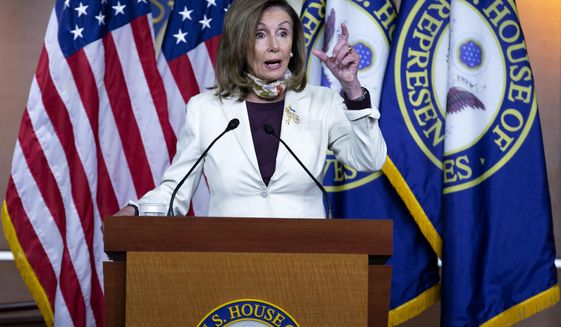 House Speaker Nancy Pelosi of Calif. speaks during a news conference on Capitol Hill in Washington, Thursday, Aug. 6, 2020. (AP Photo/Jose Luis Magana)
