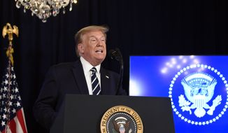 President Donald Trump speaks at Trump National Golf Club Bedminster in Bedminster, N.J., Friday, Aug. 7, 2020. (AP Photo/Susan Walsh)