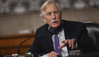 Sen. Angus King, Independent-Maine, is shown in this May 7, 2020 file photo asking questions at a hearing.  (Kevin Dietsch/Pool via AP) **FILE**