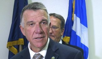 In this Sept. 26, 2019, photo, Vermont Gov. Phil Scott speaks at a news conference in Essex Junction, Vt. (AP Photo/Wilson Ring) **FILE**