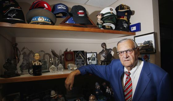 Former Maricopa County Sheriff Joe Arpaio poses for a photograph in his office as he is running for the position of Maricopa County Sheriff again, Wednesday, July 22, 2020, in Fountain Hills, Ariz. Arpaio is trying to win back the sheriff's post in metro Phoenix that he held for 24 years, in what Arpaio acknowledges could be his last political race. (AP Photo/Ross D. Franklin)