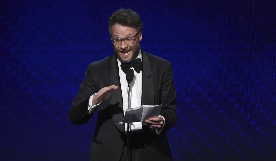 In this Nov. 8, 2019, file photo, Seth Rogen speaks at the 33rd American Cinematheque Award in Beverly Hills, Calif. (Photo by Chris Pizzello/Invision/AP, File)