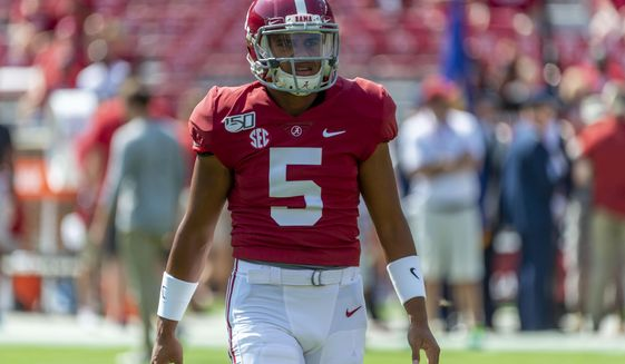 In this Sept. 28, 2019, file photo, then-Alabama quarterback Taulia Tagovailoa (5) is shown before an NCAA college football game against Mississippi in Tuscaloosa, Ala. Maryland senior quarterback Josh Jackson has opted out of the upcoming football season, coach Michael Locksley said during a teleconference Friday, Aug. 7, 2020. With Jackson out, Locksley is hoping the NCAA will grant a transfer waiver to former Alabama quarterback Taulia Tagovailoa, the younger brother of Tua Tagovailoa, who starred at Alabama and was selected fifth over in the 2020 NFL draft. (AP Photo/Vasha Hunt, File)  **FILE**