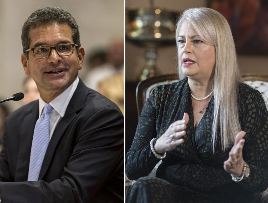 FILES - This combo of two file photos shows Pedro Pierluisi, left and Wanda Vazquez in San Juan, Puerto Rico. At left, Secretary of State Pedro Pierluisi attends his confirmation hearing at the House of Representatives on Aug. 2, 2019, and at right, Puerto Rico Gov. Wanda Vazquez gives an interview at La Fortaleza governor residence on Aug. 16, 2019. Both served as replacement governors in the wake of a Puerto Rican political crisis and are competing against each other for a chance to win the job in their own right as the disaster-struck U.S. territory holds primary elections on Sunday, Aug. 9, 2020. (AP Photo/Dennis M. Rivera Pichardo, Files)