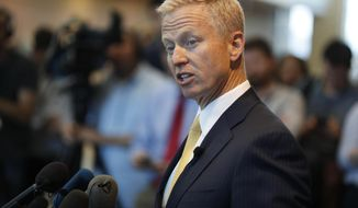 "FILE - In this May 15, 2019, file photo, District Attorney George Brauchler speaks during a news conference in Castle Rock, Colo. An investigation will determine if police officers in suburban Denver will face charges after handcuffing two Black girls and placing them on the ground while mistakenly suspecting they were riding in a stolen car, a prosecutor said Friday, Aug. 7, 2020. Aurora Police Chief Vanessa Wilson and the department are cooperating with the investigation, Brauchler said. He called the public accounts of the confrontation ""very concerning."" (AP Photo/David Zalubowski, File)"