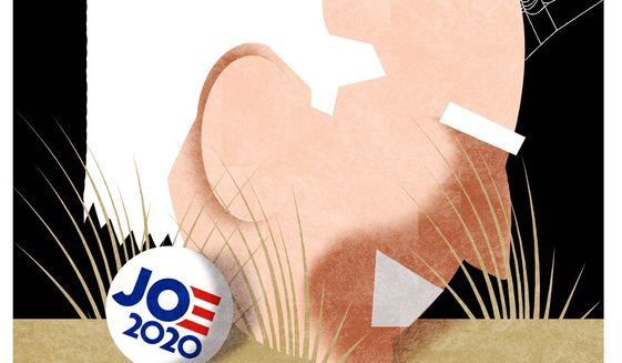 Illustration on the Biden campaign by Alexander Hunter/The Washington Times