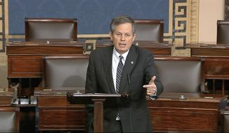 FILE - In this March 24, 2020 file image from video, Sen. Steve Daines, R-Mont., speaks on the Senate floor at the U.S. Capitol in Washington. Incumbent Republican U.S. Sen. Steve Daines faces off Saturday, Aug. 8, 2020, in the first of three debates against his Democratic opponent, Montana Gov. Steve Bullock, in a race that is among the GOP-held seats in states won by President Trump in 2016 that Democrats think they have a chance to flip in November. (Senate Television via AP, File)