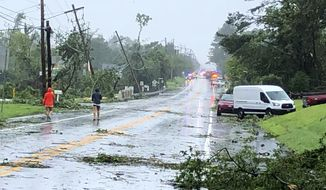 Residents of a neighborhood just south of Dover, Del., survey the damage after high winds and heavy rains tore through the area, on Tuesday, Aug. 4, 2020. (AP Photo/Randall Chase.)