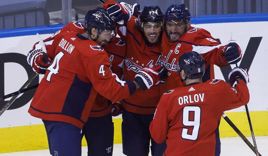 Washington Capitals left wing Alex Ovechkin (8), right wing T.J. Oshie (77), center Nicklas Backstrom (19), defenseman Brenden Dillon (4) and defenseman Dmitry Orlov (9) celebrate Oshie's goal against the Boston Bruins during first-period NHL Stanley Cup qualifying round game action in Toronto, Sunday, Aug. 9, 2020. (Cole Burston/The Canadian Press via AP)
