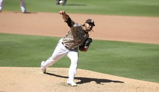 San Diego Padres Dinelson Lamet took a no-hitter into the seventh inning against the Arizona Diamondbacks' during a baseball game Sunday, Aug. 9, 2020, in San Diego. (AP Photo/Derrick Tuskan)