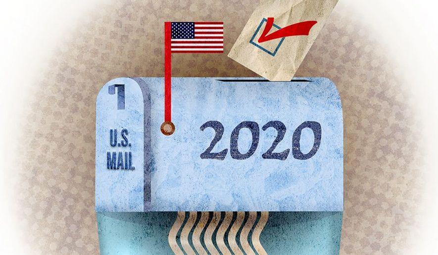 Mail Vote Shredder Illustration by Greg Groesch/The Washington Times
