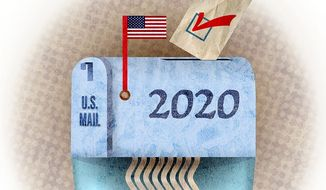 Mail Vote Shredder Illustration by Greg Groesch/The Washington Times