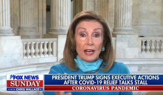"Nancy Pelosi talks with ""Fox News Sunday"" host Chris Wallace, Aug. 9, 2020. (Image: ""Fox News Sunday"" video screenshot)"
