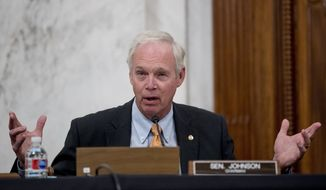 In this May 20, 2020, file photo, Sen. Ron Johnson, R-Wis., speaks during a Senate Homeland Security and Governmental Affairs committee meeting on Capitol Hill in Washington. Johnson said Monday, Aug. 10, that he has subpoenaed the FBI to produce documents to his committee related to the Trump-Russia investigation. Johnson also defended a separate investigation he is leading into Democratic presidential candidate Joe Biden and Ukraine. (AP Photo/Andrew Harnik, File)